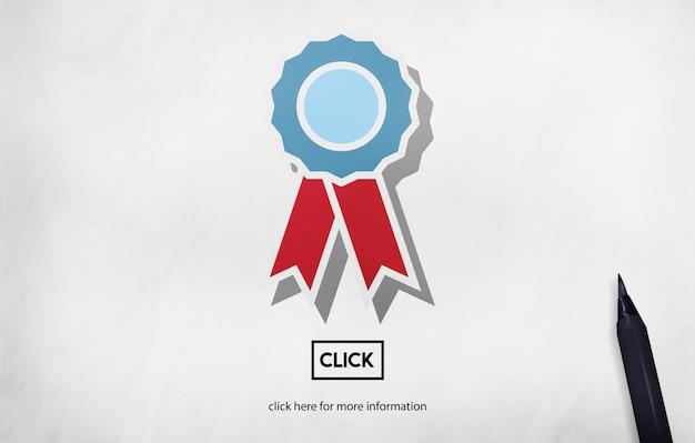 Conceito de competição de campeão bem-sucedido de recompensa por distintivo Foto gratuita