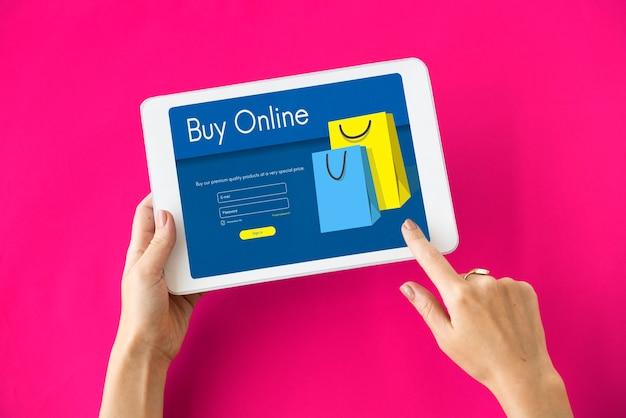 Conceito de compra de pagamento de adicionar ao carrinho da loja online