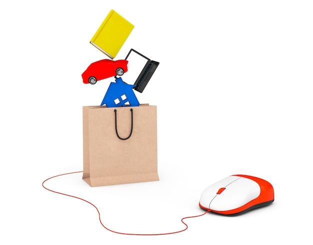 Conceito de compra. livro, laptop, carro e casa caem em um saco de papel conectado ao mouse do computador em um fundo branco