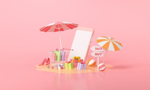 Conceito de compra móvel online. presente de promoção de promoção de verão e carrinho de compras rosa