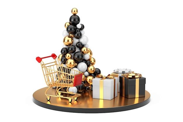 Conceito de compras de ano novo. bolas de ouro em forma de árvore de natal, carrinho de compras de ouro e caixas de presente em um fundo branco. renderização 3d