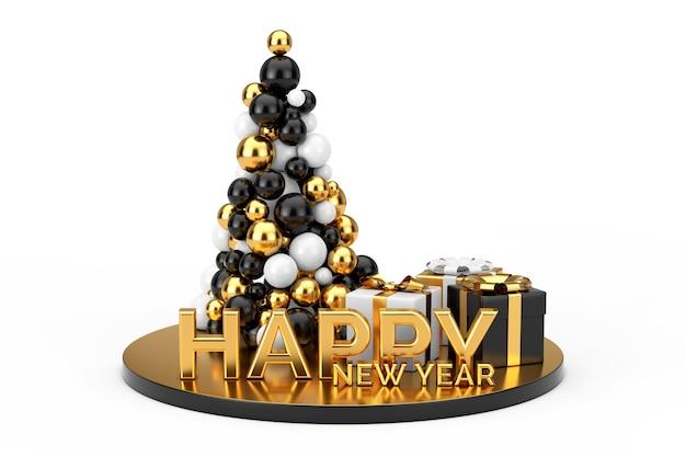 Conceito de compras de ano novo. bolas de ouro em forma de árvore de natal, sinal dourado de feliz ano novo e caixas de presente em um fundo branco. renderização 3d