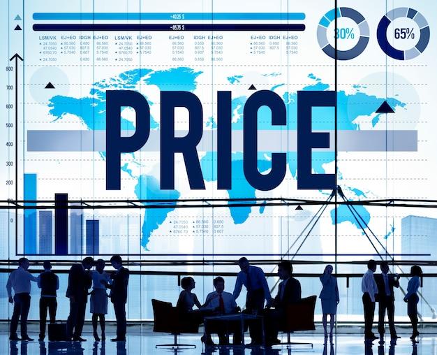 Conceito de compras de produto de dinheiro de mercadoria de custo de preço