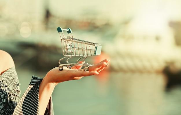 Conceito de compras. mini carrinho de compras na palma da mão de uma mulher ao ar livre
