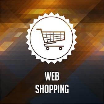 Conceito de compras na web. design de rótulo retrô. fundo de hipster feito de triângulos, efeito de fluxo de cor.