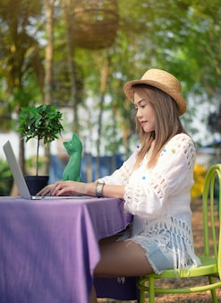 Conceito de compras on-line de mulheres. mulheres asiáticas bonitas são felizes trabalhar fora do trabalho.