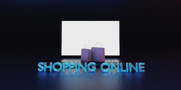Conceito de compras on-line de renderização 3d.