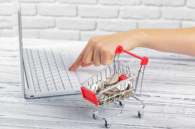 Conceito de compras on-line: mini carrinho de compras e laptop