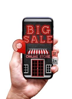 Conceito de compras online 3d render