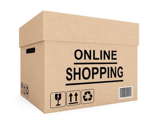 Conceito de compras online. caixa de papelão para envio em fundo branco