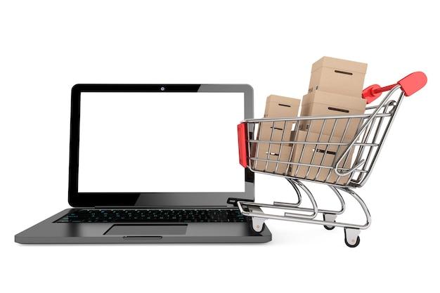 Conceito de compras online. carrinho de compras com caixas sobre laptop em um fundo branco
