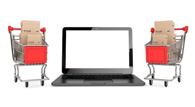 Conceito de compras online. carrinhos de compras com caixas perto de laptop em um fundo branco