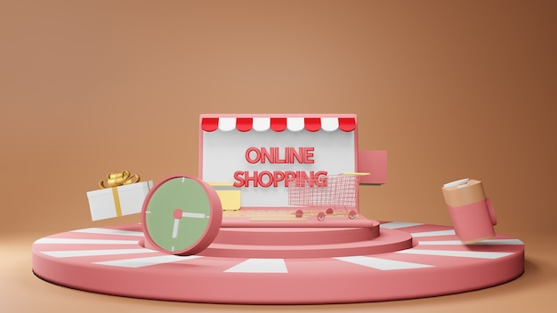 Conceito de compras online com pódio com carrinho de compras, relógio e caixa de presente