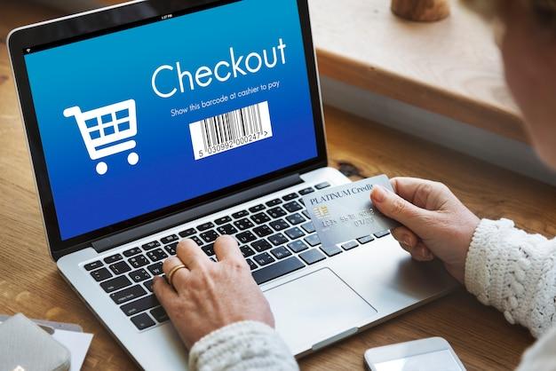 Conceito de compras online de compra de checkout