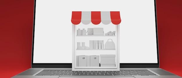 Conceito de compras online prateleiras de estoque em laptop com tela de maquete em fundo vermelho renderização 3d