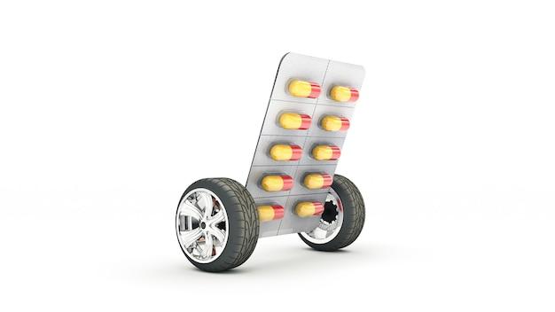 Conceito de comprimidos medicinais renderização em 3d