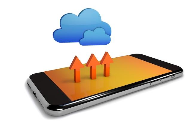 Conceito de computação em nuvem. computação em nuvem com telefone celular. renderização 3d em branco