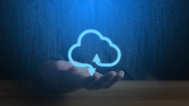 Conceito de computação em nuvem. fundo de tecnologia de conexão de nuvem.
