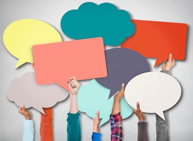 Conceito de comunicação de símbolo de sinal de bolha do discurso