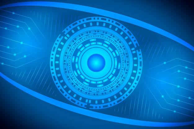 Conceito de comunicação digital do olho para o fundo de tecnologia