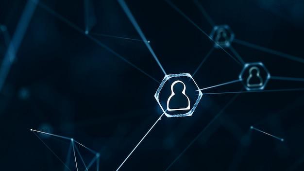 Conceito de conexões de rede social. rede de ícones de pessoas com linhas de conexão.