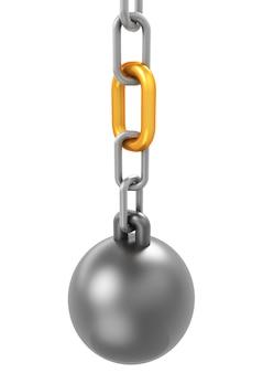 Conceito de confiabilidade com corrente e um link de corrente de ouro