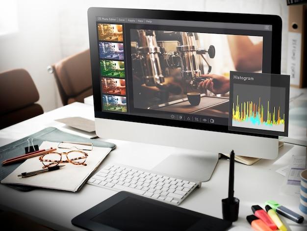 Conceito de configuração de histograma do photo editor