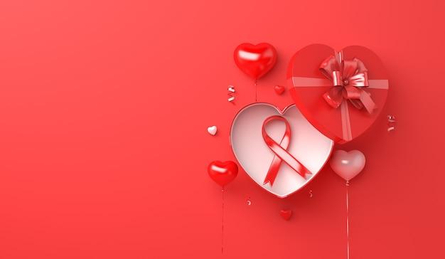 Conceito de conscientização sobre aids dia mundial da aids com caixa de presente em formato de coração com fita vermelha