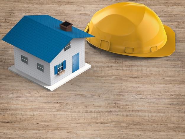 Conceito de construção de casa com simulação de modelo de casa com capacete de segurança