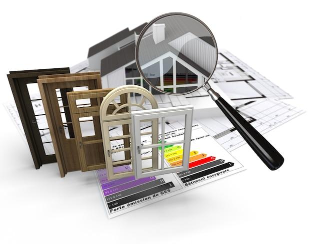 Conceito de construção residencial com gráfico de eficiência energética e uma seleção de portas e janelas