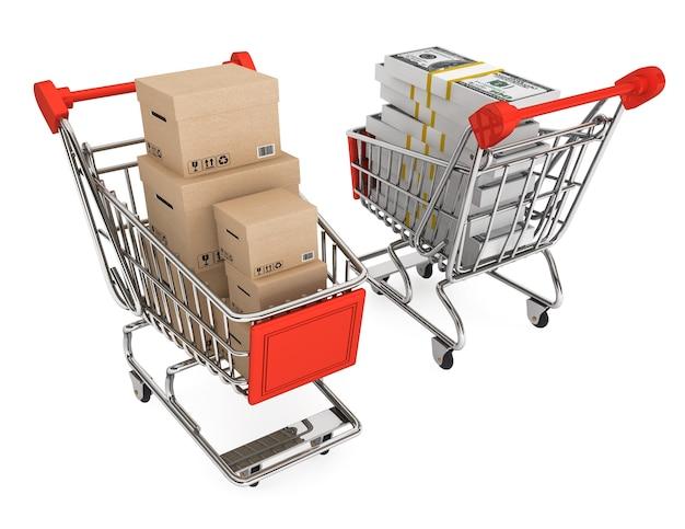 Conceito de consumismo. carrinhos de compras com caixas e dinheiro em um fundo branco
