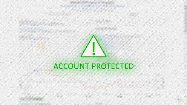 Conceito de conta protegida com ponto de exclamação em triângulo verde sobre gráficos de bitcoin