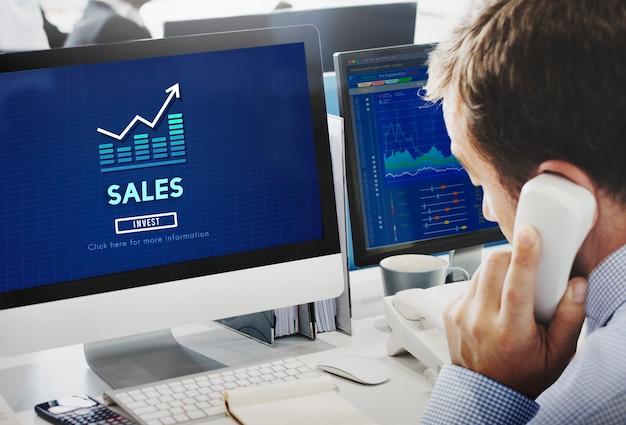 Conceito de contabilidade de lucro de receita de vendas de varejo