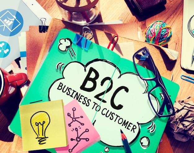 Conceito de contato de comércio consumidor empresa para cliente