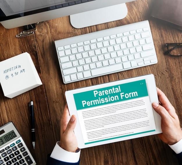 Conceito de contrato de formulário de permissão parental