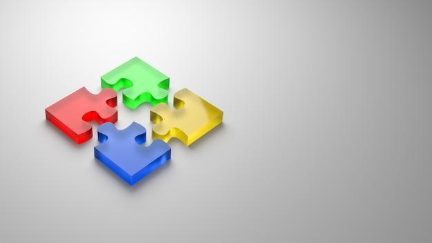 Conceito de cooperação de quebra-cabeça isolado