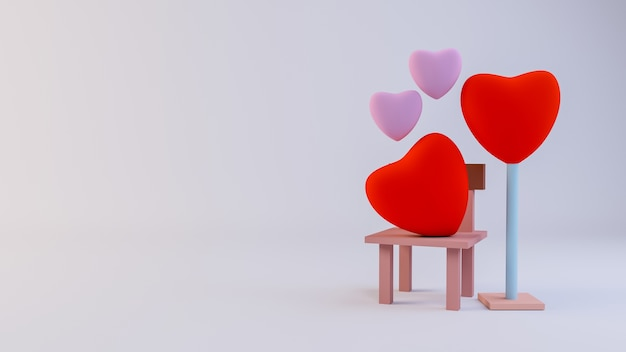 Conceito de coração vermelho dia dos namorados