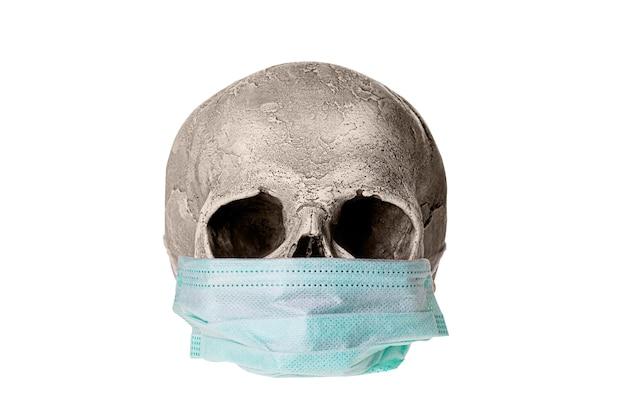 Conceito de coronavirus covid-19. crânio humano com máscara médica isolada no fundo branco.
