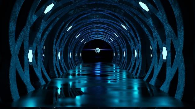 Conceito de corredor futurista com luzes de néon azuis, fundo escuro abstrato, renderização em 3d