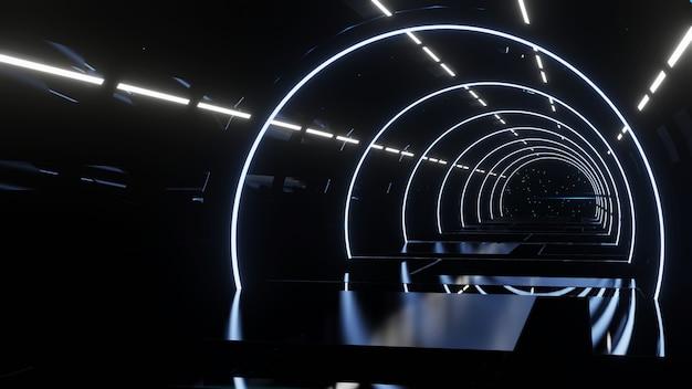 Conceito de corredor futurista com luzes de néon, fundo escuro abstrato, renderização em 3d