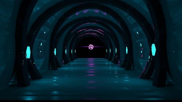 Conceito de corredor futurista com luzes de néon verdes e rosa, fundo escuro abstrato, renderização em 3d