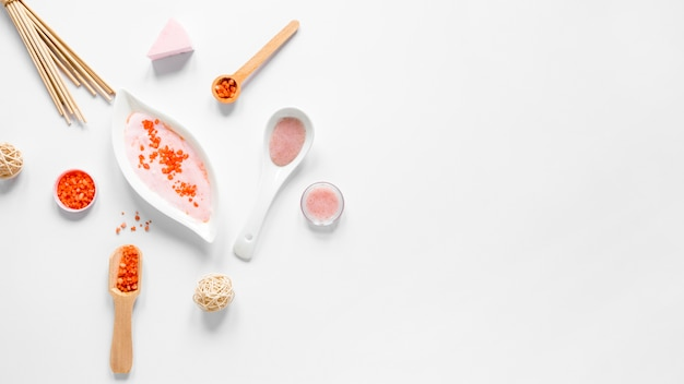 Conceito de cosméticos naturais com espaço de cópia