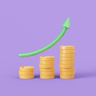 Conceito de crescimento de dinheiro ilustração 3d fundo de lucro financeiro com espaço vazio