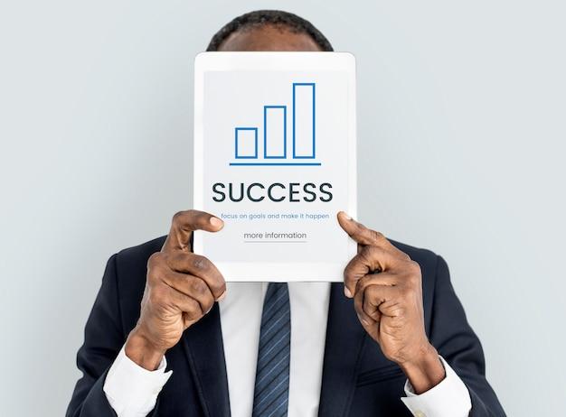 Conceito de crescimento de informações de avaliação de negócios