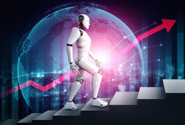 Conceito de crescimento de negócios usando robô de ia e tecnologia de aprendizado de máquina