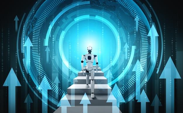 Conceito de crescimento de negócios usando robô de ia