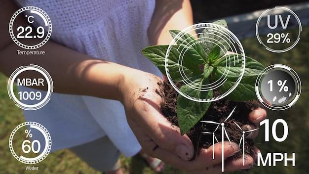 Conceito de crescimento de plantação assistida por computador.