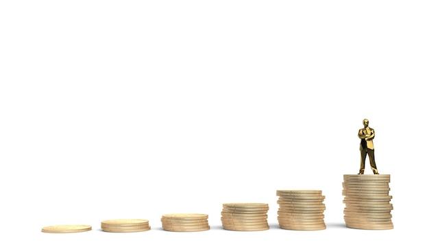 Conceito de crescimento do investimento financeiro no mercado de ações com moedas e corretor. ilustração 3d.