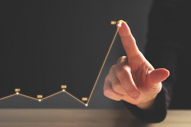 Conceito de crescimento do negócio em 2021 com cronograma e dinâmica.