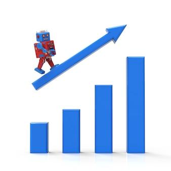 Conceito de crescimento industrial de tecnologia com robô de renderização 3d com gráfico de crescimento